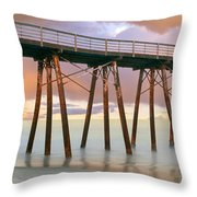 Pier On Beach During Sunrise, Playas De Throw Pillow