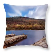 Pier On The Upper Lake In Glendalough - Wicklow, Ireland Throw Pillow