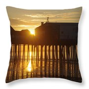 Pier Sunrise Throw Pillow