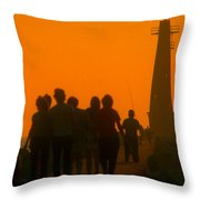 Pier Walkers Throw Pillow