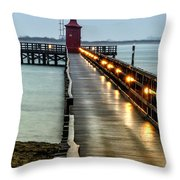 Pier With Lighthouse Throw Pillow