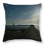 Pier With Sun Throw Pillow