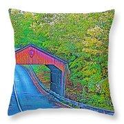 Pierce Stocking Covered Bridge In Sleeping Bear Dunes National Lakeshore-michigan Throw Pillow