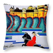 Pierrefonds Castle, Woman On Horse, France Throw Pillow
