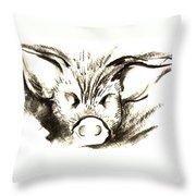 Pig Headed Throw Pillow