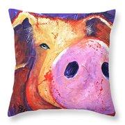 Pig On Purple I Throw Pillow