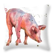 Pig Painting Throw Pillow