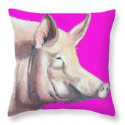 Pig Painting - Kitchen Art Throw Pillow