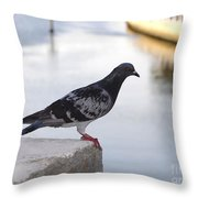 Pigeon By The River Throw Pillow