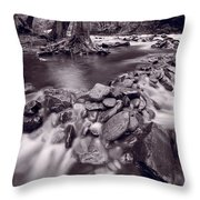 Pigeon Forge River Great Smoky Mountains Bw Throw Pillow