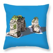 Pigeon Rocks, Beirut Throw Pillow