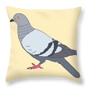 Pigeon Yellow Throw Pillow