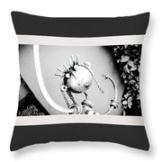 Pigtails Girl Metal Monochrome  Throw Pillow