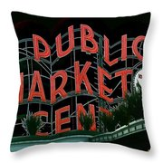 Pike Place Market Entrance 5 Throw Pillow