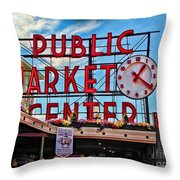 Pike Place Market Throw Pillow