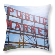 Pike Place Public Market Sign Throw Pillow