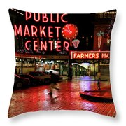 Pike Place Reflections Throw Pillow