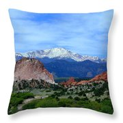 Pikes Peak And Garden Of The Gods 1 Throw Pillow