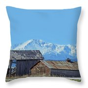 Pikes Peak And Old Barn Spring Snow Throw Pillow
