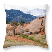 Pikes Peak From Red Rock Canyon Throw Pillow