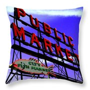 Pike's Place Market Throw Pillow