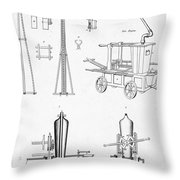 Pile Driver, Fire Engine, Steam Engine Throw Pillow
