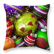 Pile Of Beautiful Ornaments Throw Pillow