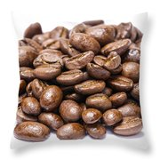 Pile Of Coffee Beans Isolated On White Throw Pillow