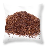Pile Of Ground Coffee Isolated On White Throw Pillow
