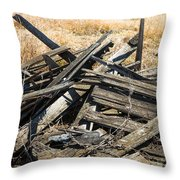 Pile Of Old Wood Throw Pillow