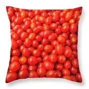 Pile Of Small Tomatos For Sale In Market Throw Pillow
