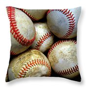 Pile Or Stack Of Baseballs For Playing Games Throw Pillow