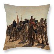 Pilgrims Going To Mecca Throw Pillow