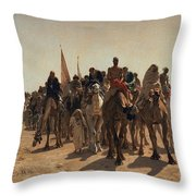 Pilgrims Going To Mecca Throw Pillow by Leon Auguste Adolphe Belly