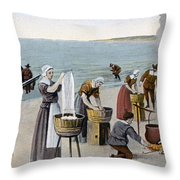 Pilgrims Washing Day, 1620 Throw Pillow