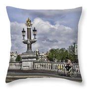 Pillar On The Blue Bridge Throw Pillow