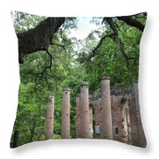 Pillars Of Sheldon Church Ruins Throw Pillow