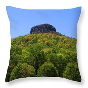 Pilot Mountain In Spring Green Throw Pillow