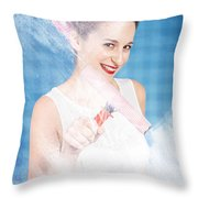 Pin Up Cleaning Lady Washing Glass Shower Door Throw Pillow