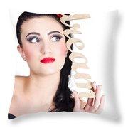 Pin Up Girl Daydreaming  Throw Pillow