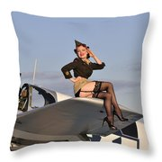 Pin-up Girl Sitting On The Wing Throw Pillow by Christian Kieffer