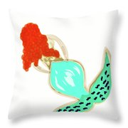 Pin Up Redhead Mermaid Throw Pillow