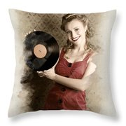 Pin-up Rockabilly Woman Holding Vinyl Record Lp Throw Pillow