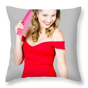 Pin-up Styled Fashion Model With Classic Hairstyle Throw Pillow