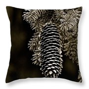 Pine Cone Bw Throw Pillow