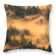 Pine Forest And Fog Throw Pillow