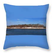 Pine Island In The Snow Throw Pillow