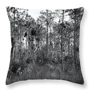 Pine Land In B/w Throw Pillow by Rudy Umans