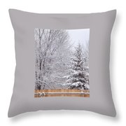 Pine Tree - Winter Scene Throw Pillow