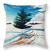 Pine Tree Along The Country Road Throw Pillow